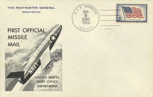 Jedna z kartek okolicznościowych znajdujących się w pocisku wystrzelonym z pokładu USS Barbero