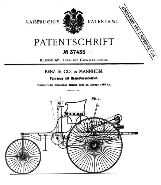 Strona tytułowa wniosku patentowego na Benz Patent-Motorwagen (fot. Daimler AG)