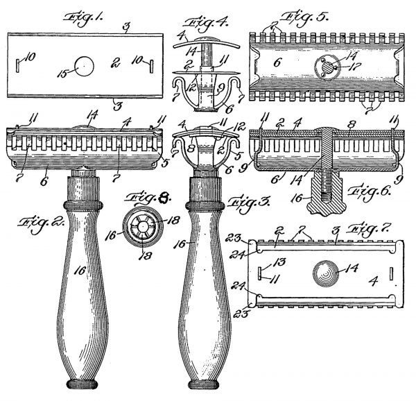 Rysunek z wniosku patentowego na maszynkę Gillette'a