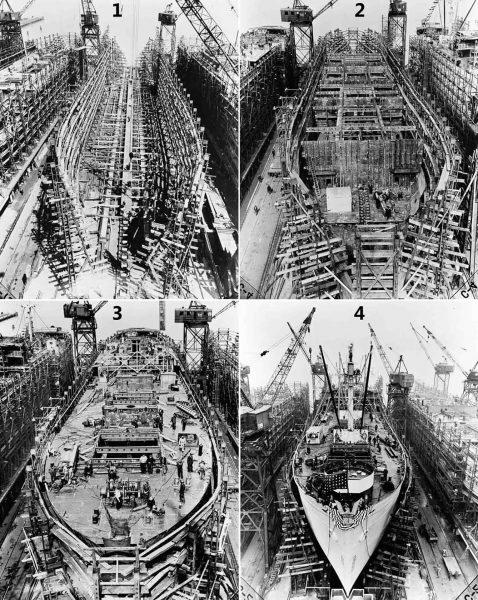 Statek typu Liberty podczas budowy: 1. Dzień 2, położenie stępki, 2. Dzień 6, grodzie, 3. Dzień 14, górny pokład, 4. Dzień 24, statek gotowy do wodowania