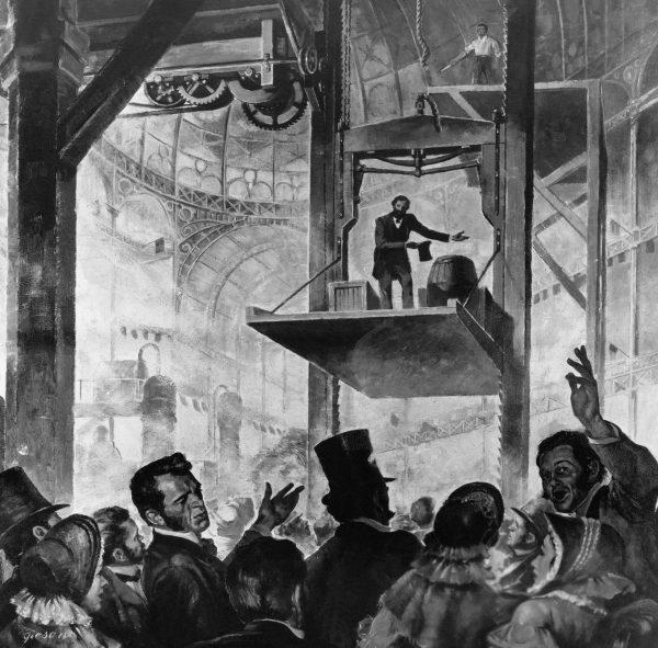 Elisha Otis podczas prezentacji bezpiecznej windy