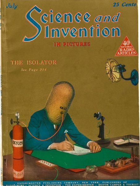 Okładka magazynu Science and Invention przedstawiająca Izolator