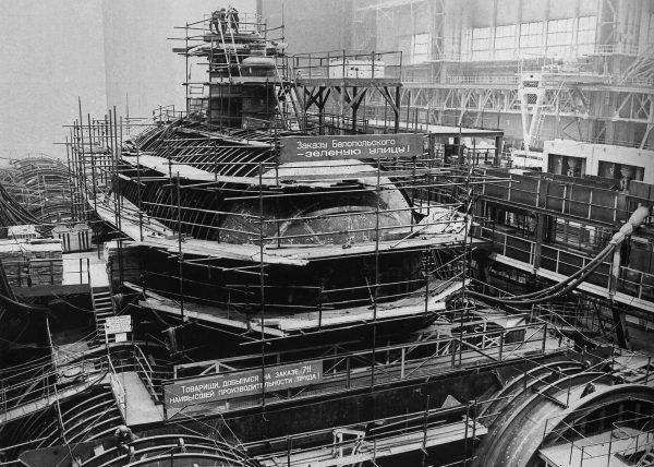 Jeden z okrętów projektu 941 podczas budowy