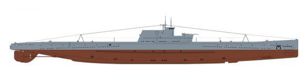 Sylwetka boczna okrętu podwodnego typu Leniniec (takiego jak L-3)