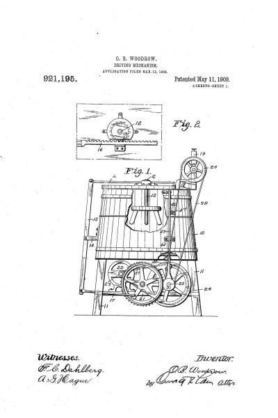 Wniosek patentowy Olivera B. Woodrowa na pralkę elektryczną