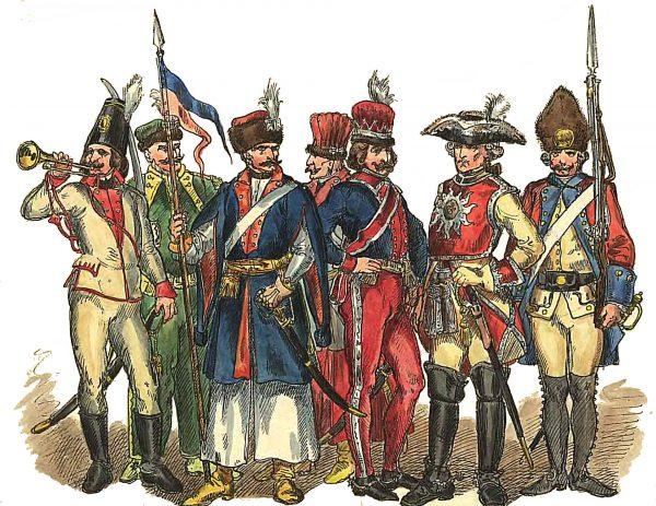 Przykłady mundurów polskich żołnierzy z lat 1697-1795