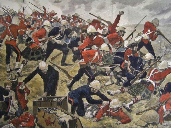 Brytyjscy żołnierze podczas bitwy na wzgórzu Majuba w 1881 roku w trakcie I wojny burskiej (fot. Richard Caton Woodville)