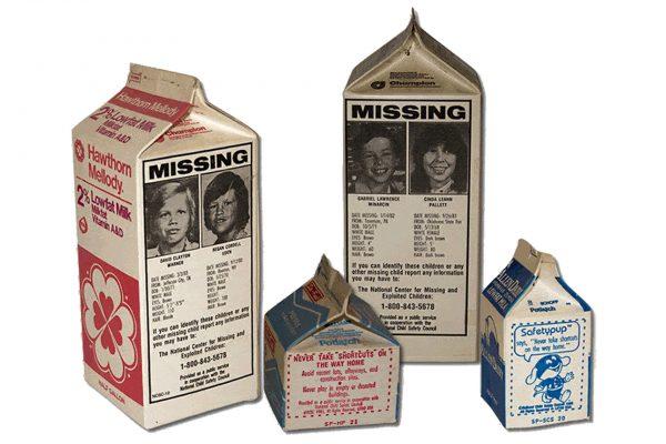 Kartoniki mleka z zdjęciami zaginionych dzieci