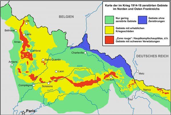 Mapa podziału na strefy po zakończeniu działań wojennych (fot. Wikimedia Commons)