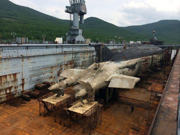 Okręt podwodny typu Oscar II w suchym doku