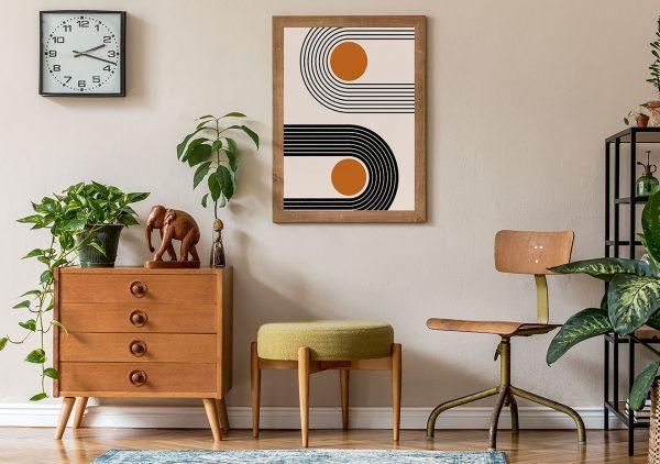 Geometryczna kompozycja w stylu retro