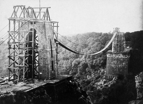Clifton Suspension Bridge podczas budowy