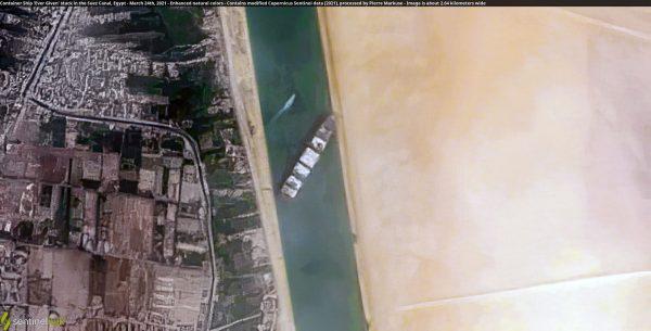 Blokujący Kanał Sueski Ever Given (fot. Contains modified Copernicus Sentinel data 2021)