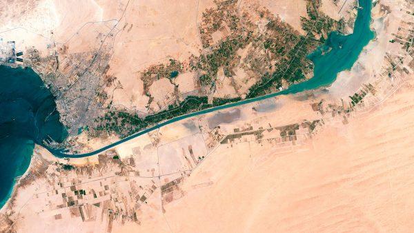 Kanał Sueski przed poszerzeniem (fot. Axelspace Corporation)