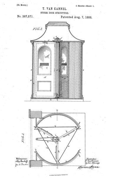 US patent 387,571 Theophilusa Van Kannela dla drzwi obrotowych jego projektu
